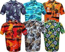Mens Hawaiian Shirt Stag do Fancy Dress Beech Floral Holiday Short Sleeve Casual