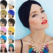 Unisex Dehnbar Turban Stirnband Band Chemo Kopftuch Hijab Plissiert Indian Kappe