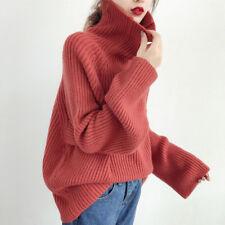 Korean Women Knit Turtleneck Sweater Pullover Oversized Coat Casual Tops Blouse`