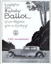 Publicite Originale 1929 AUTOMOBILES BALLOT 8 CYLINDRES  ART DECO FRENCH AD PUB
