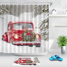 Christmas Wreath Retro Red Truck Winter Snow Shower Curtain Set Bathroom Decor