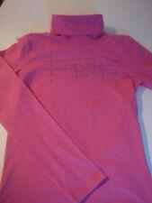 § sport femme : t-shirt manche longe col roulé rose et strass Magilla L