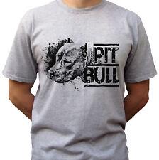 Pitbull-Gris T Shirt Top Pit Bull Tee Perro Tallas para Hombres de Diseño