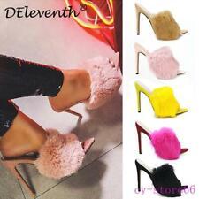 Women's Heel Mules Slippers Slingbacks Real Rabbit Fur Bunny Fluffy Shoes Slides