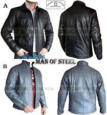 Uomo di Acciaio Pistola Metallizzato & Nero Elegante Moda Da Uomo Alta Qualità Giacca in pelle