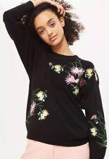 New Women Ladies Black Floral Embroidery Jumper Sweatshirt Sweater Top