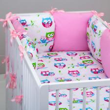 8 pc cot /cot bed bedding sets PILLOW BUMPER + CASES  white owls 60x120 70x140