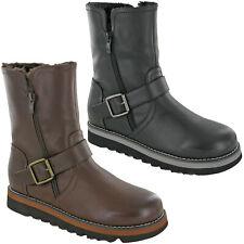 Mujer Botas Mitad de Pantorrilla Damas Moda Plataforma Cremallera Caliente Forrado Zapatos UK 3-8