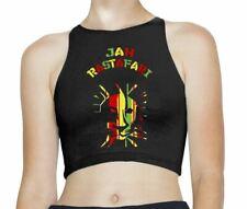 Jah Rastafari Reggae Rasta Sleeveless High Neck Crop Top
