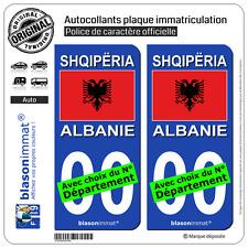 2 Stickers autocollant plaque immatriculation Auto : Albanie - Drapeau