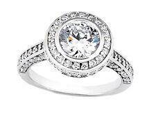 Genuine 1.50Ct Round Cut Diamond Halo Bridal Engagement Ring Solid 14k Gold