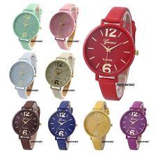 Reloj de pulsera nuevo Moda Damas analógico correa fina estrecha de cuero PU 10 Colores