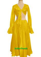 Yellow Satin Belly Dance Skirt + Top Set Tie Ruffle Dress Tribal Full Circle
