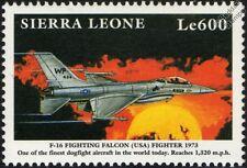 USAF F-16 FIGHTING FALCON Aircraft Mint Stamp (1999 Sierra Leone)
