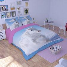3D White Horse 63 Bed Pillowcases Quilt Duvet Cover Set Single Queen King AU