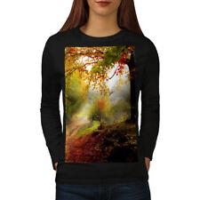 Wellcoda Forest Tree Autumn Womens Long Sleeve T-shirt, Late Casual Design