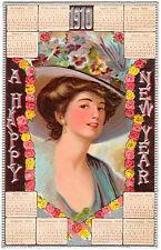 POSTCARD CALENDAR NEW YEAR 1910 WOMAN IN HAT CHROMO #3