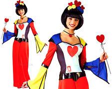 Adult QUEEN OF HEARTS Harlequin Ladies  Deck of Cards Fancy Dress UK Sizes 6-8