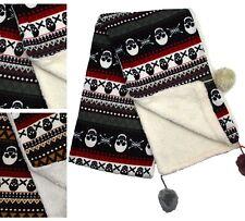 Christmas Halloween Pirate Skull Print Scarf Shawl Pom Pom Fleece Lined Warm UK