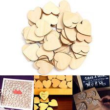 50Pcs Wooden Love Hearts Shapes Embellishments Small Plain Craft Decoration