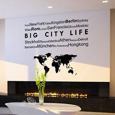 Wandtattoo Städte & Weltkarte | Modern Wandaufkleber Wand Bild Wohnzimmer Deko
