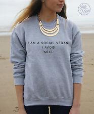 * I am a Social Vegan I Avoid Meet Jumper Sweater Tumblr Funny Fashion Dope *