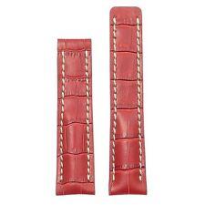 DASSARI Vantage Crocodile Red Leather Watch Band Strap Deployment fit Breitling