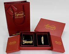 YASMIN Gold Plated Name Necklace and Bracelet Gift Set 18K Bridal Christmas