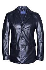 Para Hombre Negro Clásico Estilo Italiano Slim Jim Blazer Abrigo Chaqueta De Cuero Auténtico Napa
