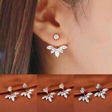 Silver Crystal Ear Cuff Clip Leaf Studs Earrings Doubled Sided Under Lobe Jacket