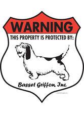 """Warning! Basset Griffon - Property Protected Aluminum Dog Sign - 7"""" x 8"""" (Badge)"""