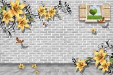 3D Window flower bricks bird Wallpaper Decal Dercor Home Kid Nursery Mural  Home