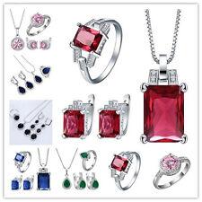 Women Fashion Silver Filled Gems Ruby Sapphire Wedding Bridal Jewelry Set 3PC