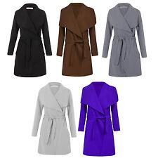Nouveau haut design italien long cascade manches longues belted trench coat veste