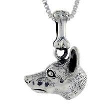 "Sterling Silver Miniature Pinscher Dog Head Pendant / Charm, 18"" Box Chain"