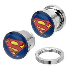 Superman Symbol Body Jewelry Surgical Steel Screw Fit Plugs