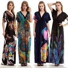Short Sleeve Dress Print Vintage Maxi Dresses Boho Casual V Neck Plus Size Dress
