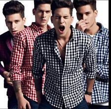 New Fashion Mens Grid Long Sleeved Casual Shirts Flannel Slim Fit T-shirts SYJJ