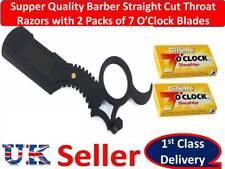 BARBER HAIR SALON STRAIGHT CUT THROAT SHAVING RAZORS+2PACKS OF 7 O'Clock BLADES