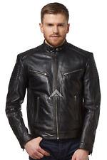 Mens Racer Jacket Black Retro Biker Motorcycle Style Genuine Leather JACKET 1829