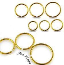 Nuevo De Acero Quirúrgico Oro anodizado Ceja Oreja Lip anillo de nariz Aro 0,8 mm 1mm