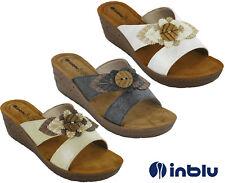Linea donna sandali zeppa open toe INBLU imbottito in pelle INSOCK Slip Fiore UK 2.5-8