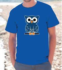 "T-SHIRT MAGLIETTA S - M - L - XL ""  BLUE OWL "" GUFO BLU Uomo Donna unisex"