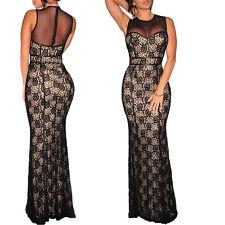 Abito pizzo lungo donna vestito elegante cerimonia sera maxi abito red carpet