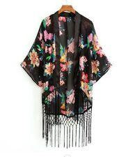Tribal Japanese Kimono Ethnic Festival Top Kaftan Floral Tassel Punk Boho Hippy