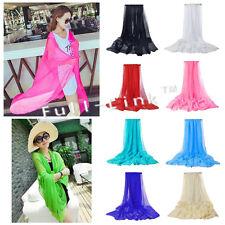 Le donne Morbido Plain sciarpa in Chiffon Collo LUCE l'hijab sciallato Wrap 140 * 90 UK Venditore