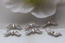 Großmenge 100-500 Engelflügel Engelsflügel Flügel Perlen Spacer silber hell 24mm
