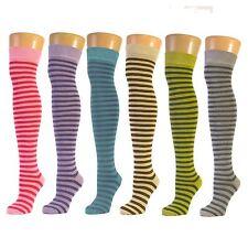 Calcetines Hasta Las Rodillas Con Rayas Finas De Color Pastel  (Tamaño: 31-36)