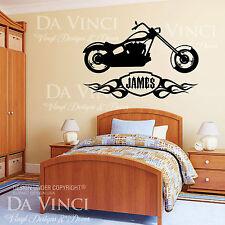 Motorcycle Chopper Flames Wall Custom Boy Name Vinyl Wall Decal Sticker Decor