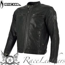 Richa Goodwood schwarz belüftet Motorrad Urban Retro Leder Jacke